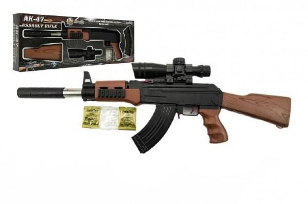 Pistole skládací plast 72cm na měkké vodní kuličky 7-8mm v krabici 62x21x6cm