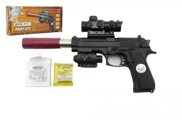 Pistole kov/plast na vodní kuličky + náboje 5-7mm v krabici 33x15x4cm