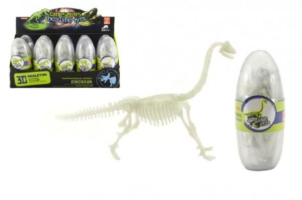 Vejce dinosaurus svítící 3D kostra plast 18cm asst mix druhů 10ks v boxu