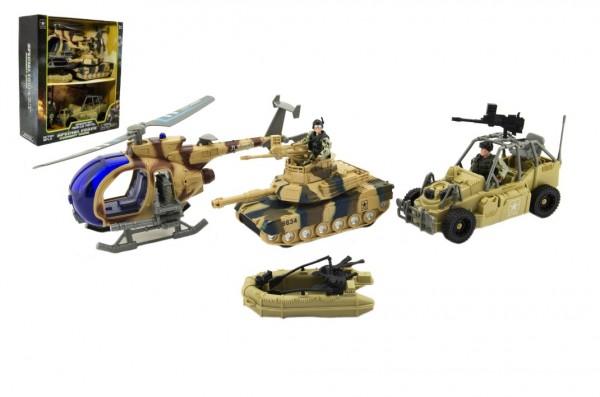 Vojenská sada plast voják+auto+vrtulník+tank na baterie se světlem se zvukem v krabici 32x37x11cm