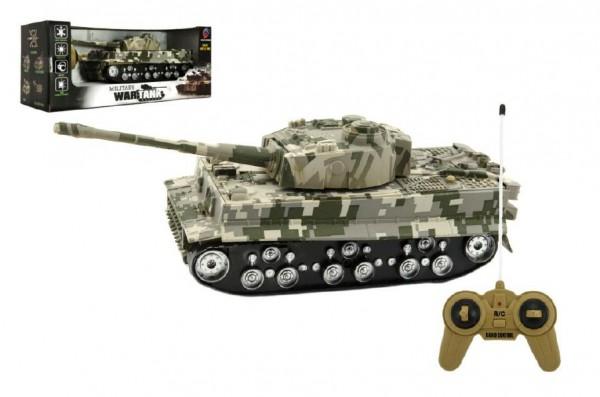 Tank RC TIGER I plast 25cm na baterie se zvukem se světlem v krabici 34x14x14cm