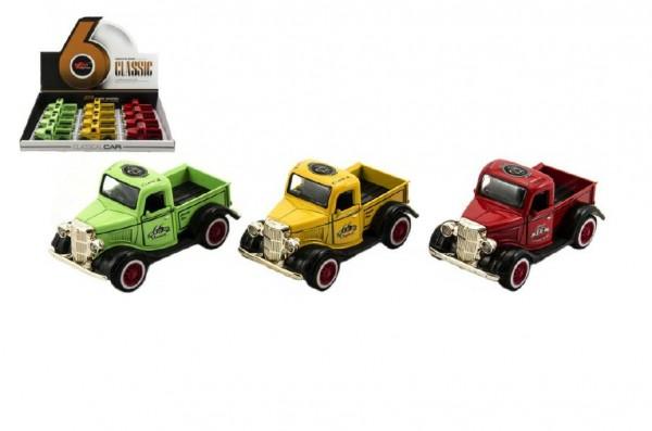 Auto nákladní s korbou retro plast/kov 10cm asst 3 barvy na zpětné natažení 12ks v boxu