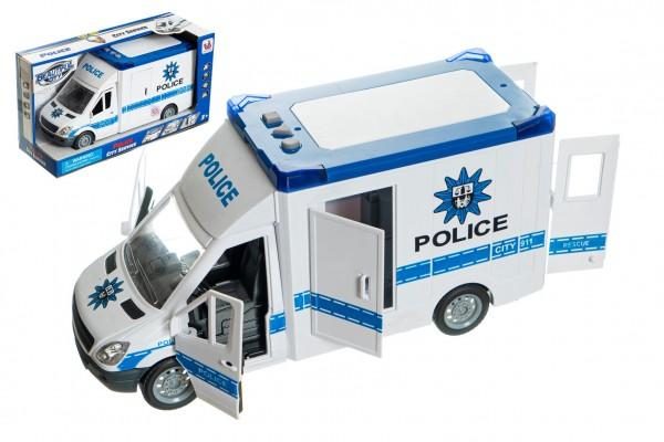 Auto policie plast 28cm na setrvačník na baterie se zvukem se světlem v krabici 32x18x12cm