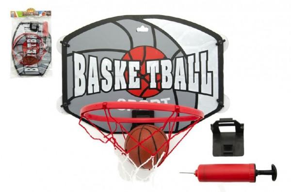 Koš basketbal + míč a doplňky plast 40cm v sáčku