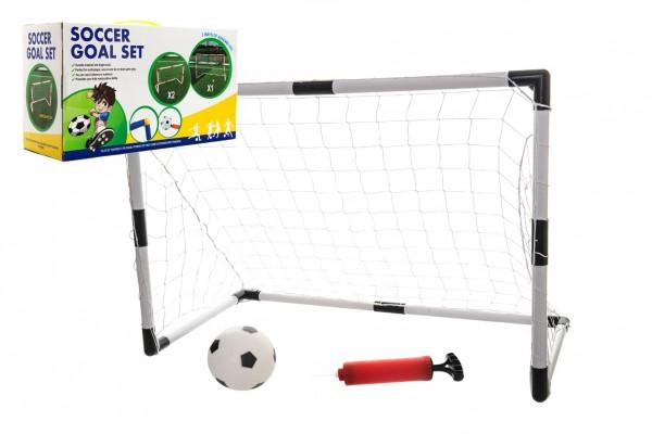Branka fotbalová 2v1 + míč plast v krabici 43x24x16cm