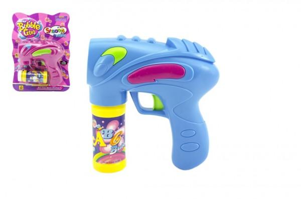 Pistole bublifuk s náplní plast 16cm na baterie asst 2 barvy na kartě