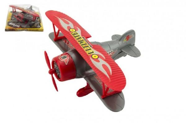 Letadlo plast 22cm na setrvačník asst 2 barvy v blistru