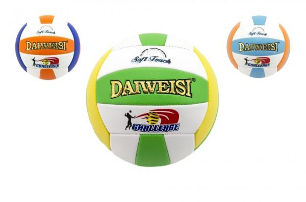 Míč volejbalový šitý kůže 20cm asst 3 barvy v sáčku
