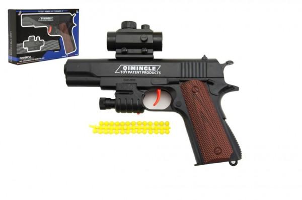 Pistole na měkké kuličky plast 20cm v krabičce 24x15x4cm