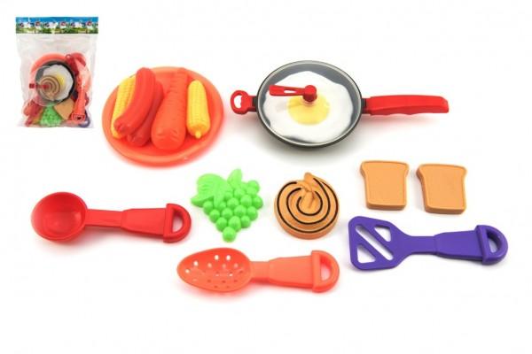Pánev s nádobím a doplňky plast 16ks asst 2 barvy v sáčku