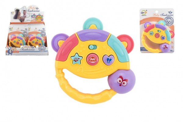 Tamburínka baby plast 12cm 2 barev na baterie se světlem se zvukem na kartě 8ks v boxu