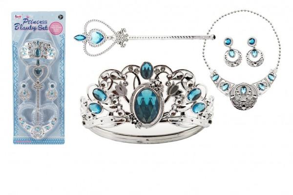 Sada krásy velká plast korunka + náhrdelník + naušnice + žezlo 4ks na kartě