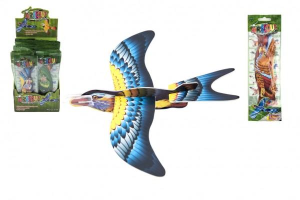 Letadlo házecí skládací pták pěna 18cm mix barev v sáčku 48ks v boxu