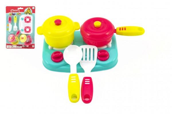 Sada nádobí + vařič 12,5x9cm plast 7ks 3 barvy na kartě 19x28x3cm