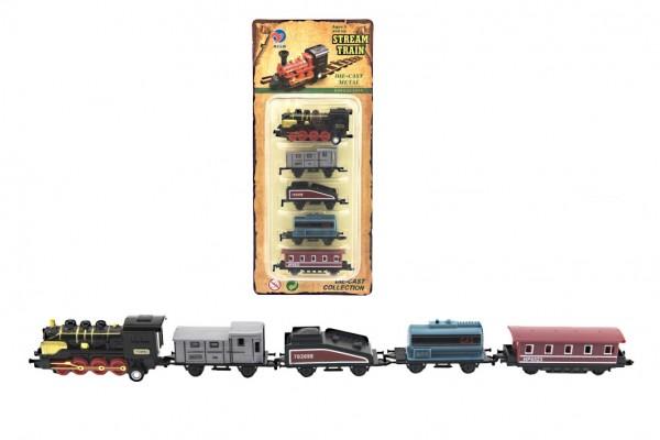 Sada lokomotiva a vagónky 5ks kov/plast 8cm na zpětné natažení 4 druhy na kartě