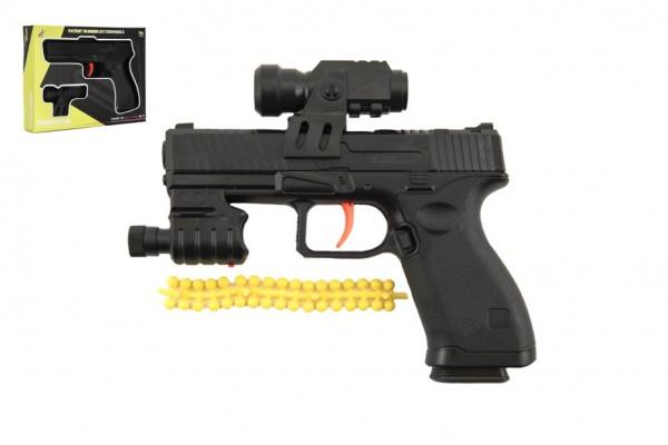Pistole na vodní kuličky 6mm plast 17cm se zaměřovačem na baterie v krabici 21x16x3,5cm