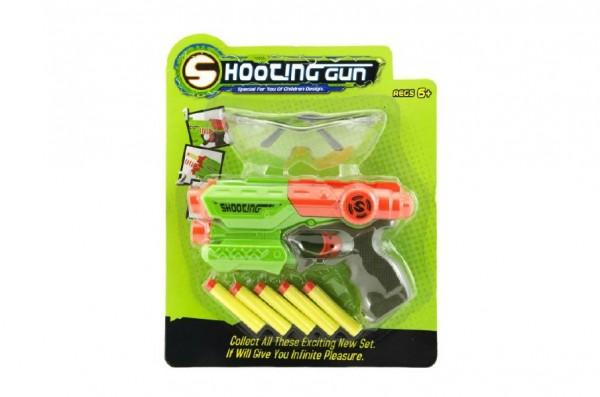 Pistole plast na pěnové náboje 21cm + brýle + 5ks nábojů na kartě