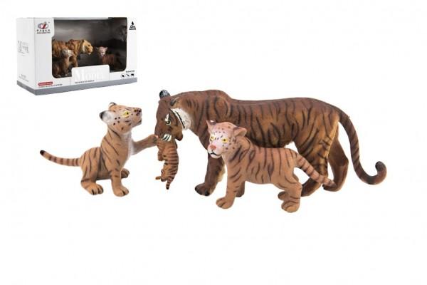Zvířátka safari ZOO 13cm sada plast 3ks tygr 2 druhy v krabičce 22x13x9,5cm