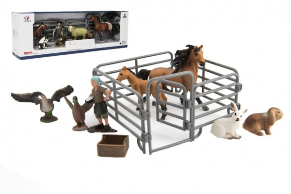 Sada farma plast zvířátka s doplňky 4 druhy v krabičce 43x14x10cm