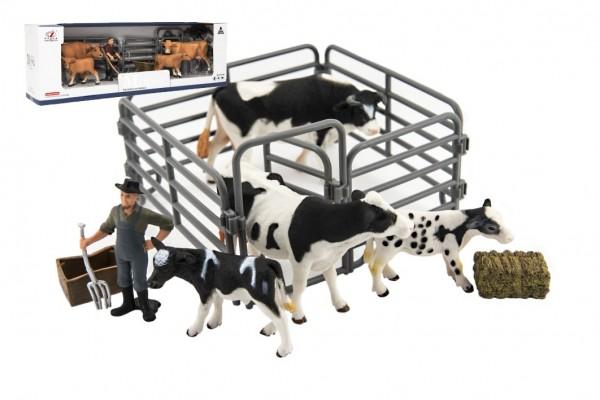 Zvířátka domácí farma s doplňky sada plast 3 druhy v krabičce 43x14x10cm