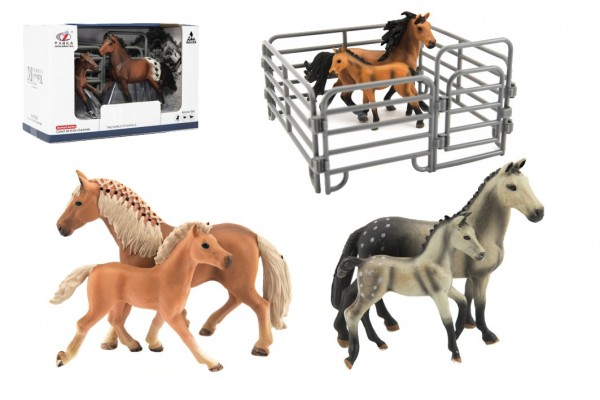 Zvířátka domácí farma 12cm sada plast kůň s doplňky 4 druhy v krabičce 22x14x10cm