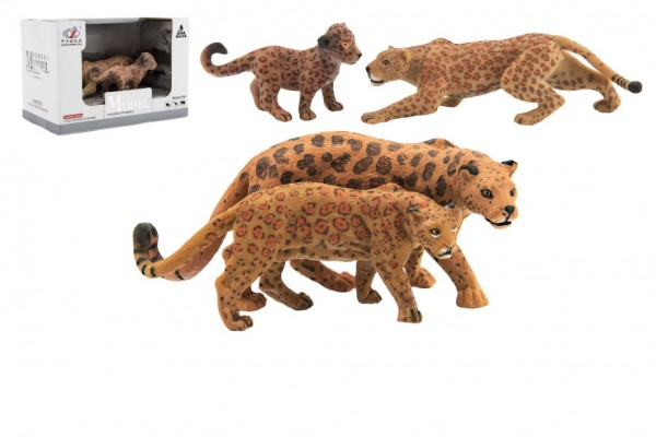 Zvířátka safari ZOO 12cm sada plast 2ks jaguár 2 druhy v krabičce 16x11x9,5cm