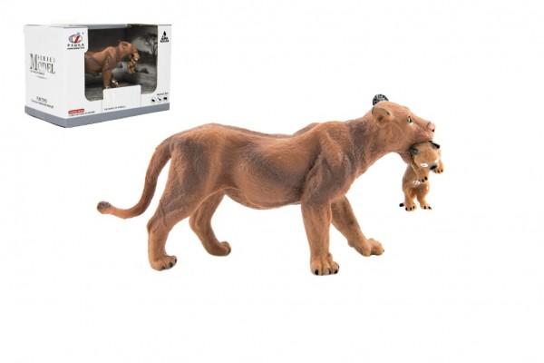 Zvířátka safari ZOO 13cm lvice plast 1ks v krabičce 16x11x9,5cm