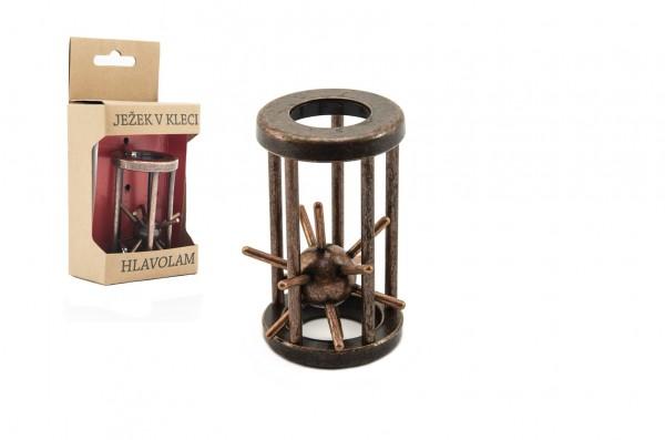 Hlavolam ježek v kleci kovový hnědý 4,5x7,5cm v krabičce 7,5x16x5cm