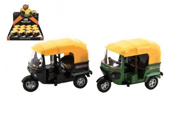 Tříkolka vozítko kov/plast 10cm na zpětný chod 2 barvy na baterie se světlem se zvukem 12ks v boxu