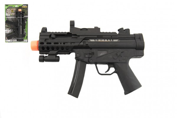 Pistole samopal plast 29cm na baterie se světlem se zvukem a vibracemi na kartě