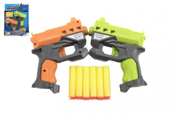 Pistole 2ks 12cm plast na pěnové náboje + 6ks nabojů na kartě