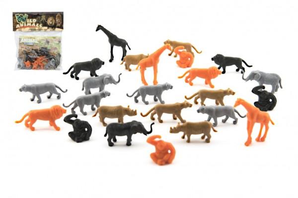 Zvířátko safari ZOO s mapou plast 3-5cm 24ks v sáčku