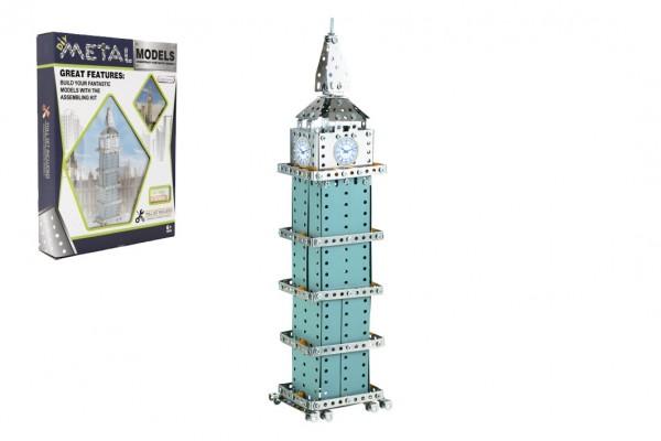 Stavebnice kov Big Ben hodiny 502 dílků v krabici 26x37x6cm
