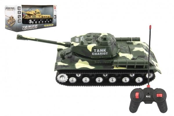 Tank RC plast 25cm na baterie se zvukem se světlem 2 druhy v krabici 28x13x12cm