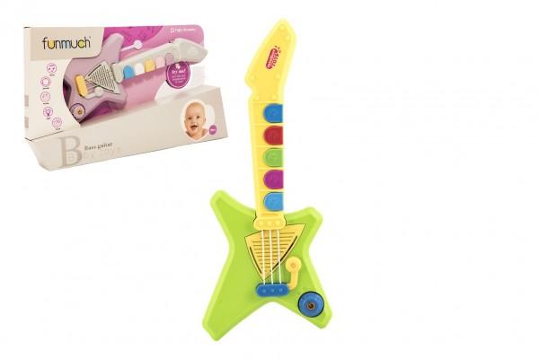 Kytara plast 42cm na baterie se zvukem se světlem v krabici 47x23x7cm