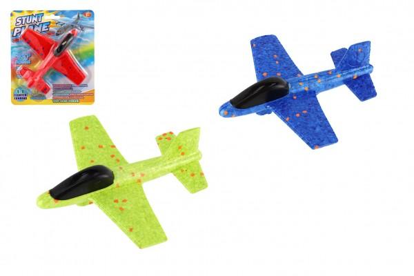 Letadlo házecí polystyren 17cm 2 barvy na kartě