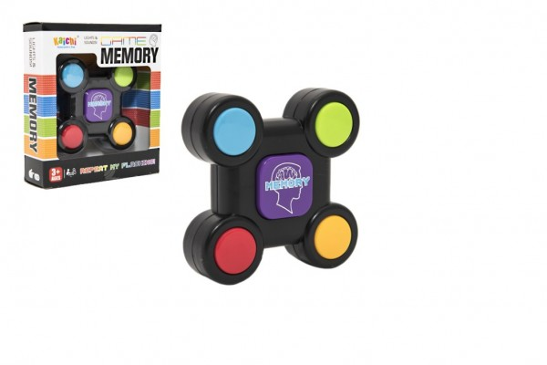 Paměťová hra/hlavolam plast 9cm na baterie v krabičce 12,5x14x4cm