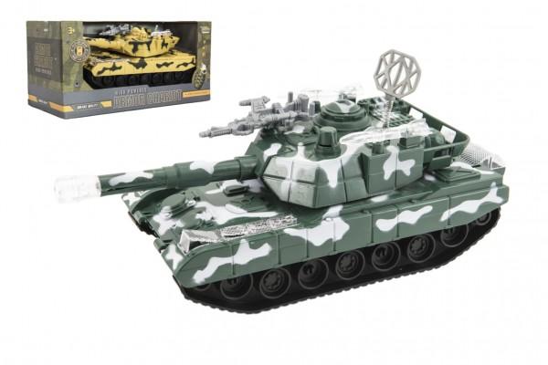 Tank narážecí plast 26cm na baterie se světlem se zvukem 2 barvy v krabici 31x16x14cm
