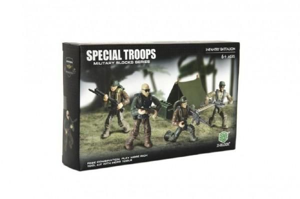 Stavebnice vojáci plast Pěší jednotka 4ks s doplňky v krabici 25x15x5cm
