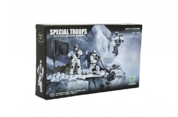Stavebnice vojáci plast Arktická jednotka 4ks s doplňky v krabici 25x15x5cm