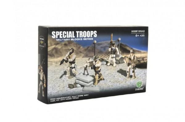 Stavebnice vojáci plast Pouštní jednotka 4ks s doplňky v krabici 25x15x5cm