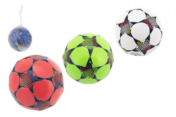 Míč fotbalový šitý 15cm 4 barvy v síťce