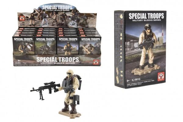 Stavebnice vojáci plast Speciální jednotka 8 druhů 1ks s doplňky v krabičce 8x11,5x3cm 16ks v boxu