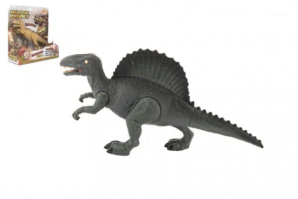 Dinosaurus plast 26cm na baterie se zvukem se světlem 2 druhy v krabici 24x25x9cm