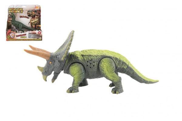 Dinosaurus plast 23-25cm na baterie se zvukem a světlem 2druhy v krabici 24x25x9cm