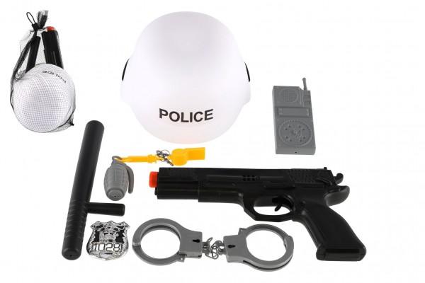 Sada policie SWAT helma+pistole na setrvačník s doplňky plast v síťce