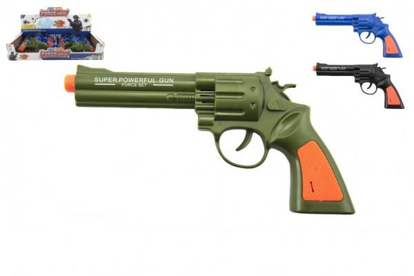 Pistole kolt plast 22cm na baterie se zvukem 2 barvy 12 ks v boxu