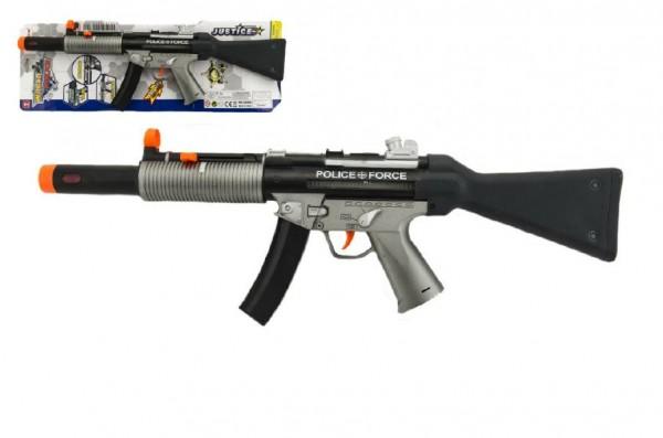 Pistole samopal policie plast 59cm na baterie se zvukem se světlem na kartě