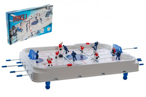 Hokej společenská hra 63x41cm plast/kov kovová táhla v krabici 73x43,5x8,5cm