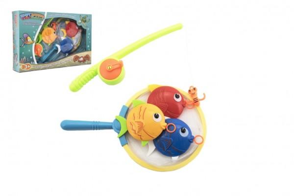 Hra ryby/rybář plast 4ks + prut 23cm v krabičce 34,5x22x6cm